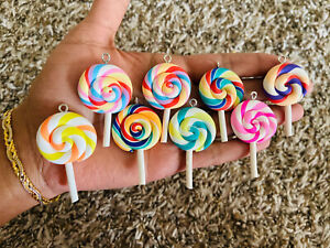 10 Pcs - Lollipop Charms Polymer Clay Charms Jewellery Making Supplies Material