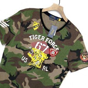 ⭐ Polo Ralph Lauren Custom slim fit military tiger patch varsity camo t-shirt L