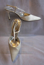 WOMENS BELLS LONDON IVORY SATIN HIGH HEEL ANKLE STRAP SHOES SIZE:6.5/40(WHS18)