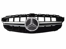Fits 15-18 Benz C-Class W205 AMG Silver Grill Mirror Finish White Star Emblem