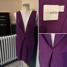 ASOS Petite Purple Dress Size 14 -Low Plunge Neck Sleeveless- Party Evening