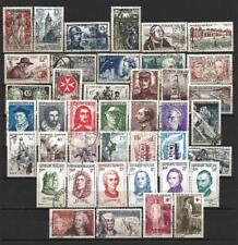 France année complète 1956 Yvert n° 1050 à 1090 oblitérés 1er choix