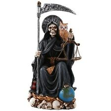 Santa Muerte Saint Of Holy Death Seated Religious Statue Black 9 Inch Purificati