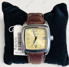 Nautica Dark Brown Leather Strap Watch (N07574)