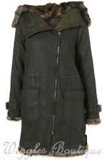 Cotton Blend Parkas Solid Coats & Jackets for Women