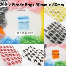 200 Small Plastic Bags Self Seal Resealable Clear Baggy Jewellery Bag 5cm x 5cm