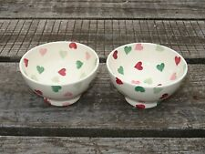 Collectable Emma Bridgewater Spongeware French Bowl x 2 - Pink & Green Hearts