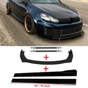 Front Bumper Body kit Spoiler + Side Skirt + Strut Rods For VW Golf MK5 MK6 MK7