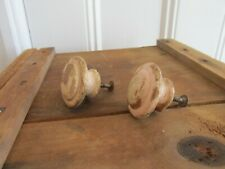 2 Painted Antique Victorian Turned Wooden Drawer Pull Knobs & Screws, 1 3/4 Inch