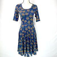 LuLaRoe Nicole Dress Womens Size XS Blue Floral Print No Pockets NWT