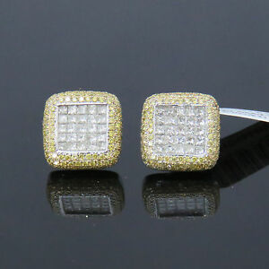 NYJEWEL JPM 14k Solid Gold New Unisex 5ct Yellow & White Diamond Earrings