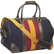 """TOMMY HILFIGER Canvas Leather Navy Luggage Fieldhouse 18"""" Duffel Weekender BAG"""