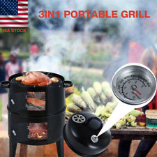 3 in 1 Grill BBQ Roaster Charcoal Vertical Smoker Steel Barbecue Cooker Outdoor