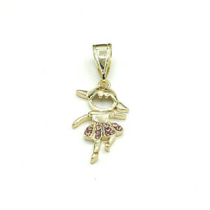 Gold Plated Kids Charms Family Necklace with Chain. Boys and Girls. Oro Laminado