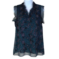 Cabi sz S Evermore Blouse Top Floral Bird Print V-Neck Flutter Sleeve #3065