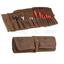 Werkzeugrolle Leder braun Werkzeugrolltasche Werkzeugtasche Rolltasche 14 Fächer