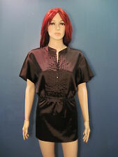 plus size 1X brown Pleated Front Retro style collared blouse by AB STUDIO
