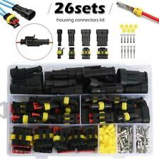 26sets 1/2/3/4Pin Car Waterproof Male Female Electrical Connector Plug Wire Kit