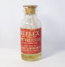 Ault and Wiborg Reflex Odorless Typewriter Oil Cincinnati OH Owens Illinois Vtg
