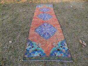 Turkish Runner Rug Kurdish Vintage Handwoven Lowpile Wool Carpet 2'9'' x 9'9''
