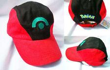 Adorable Pokemon Ash Ketchum Adjustable Baseball Cap Cosplay Hat Black-red