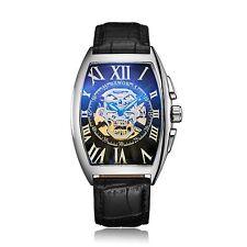Men Women Skeleton Automatic Mechanical Wristwatch Stainless Steel Leather Watch