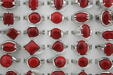 New Wholesale lots 25pcs red turquoise stone Silver Plated Charm rings Jewellery
