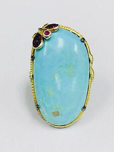Meher's Jewel Organic Shape Amazonite, Ruby, Tsavorite Black Rhodium Shank Ring