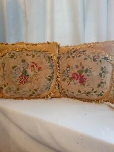 Antique needlework  pair of pillows cushions stunning pair 😍