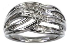AffinityDiamond 1/4 Carat Woven Design Baguette Sterling Silver Ring Size 7