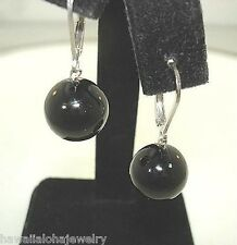 12mm 13.02Cts Pacific Round Black Coral Bead Sterling Silver Leverback Earrings