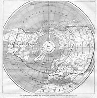 TELEGRAPH WORLD MAP SHOWING 1865 TELEGRAPHIC SYSTEMS FOR ENCIRCLING ENTIRE GLOBE