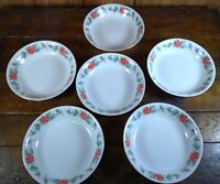 Set of 6 Salad Soup Bowls Christmas Poinsettia Gold Trim TRISA China 1693