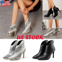 Womens High Stiletto Heel Zip Ankle Boots Lady Casual Pointed Toe Party Shoes US