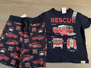 NWT Baby Gap boy SUMMER 2-piece red navy fire engine fire truck shorts SET 12 18