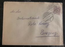 1945 Schruns Austria Post WWII Cover to The Red Cross In Bregenz