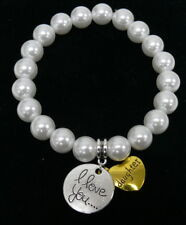 Faux Pearl Stretch Bracelet I Love You & Daughter Charms White NEW Ships from US