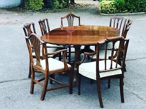Cuban Mahogany Extending Table & 8 Chairs.