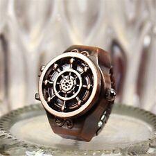 Fashion Bronze Gift Unisex Finger Watch Ring Watch Rudder Design Jewelry
