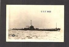 REAL-PHOTO POSTCARD:  USS BASS - U.S. NAVY SUBMARINE - BARRACUDA CLASS V-BOAT
