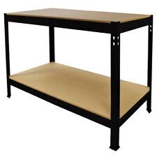Etabli d'Atelier / Table de Travail Noir en Acier Sans Boulons 90cm x120cm x60cm
