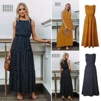 US Women Polka Dot Long Maxi Dress Sleeveless Evening Party Cocktail Sundress
