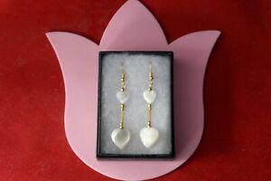 Beautiful Earrings With Heart Mother Of Pearl Gems 4.8 Gr. 5 + Cm. Long + Hooks