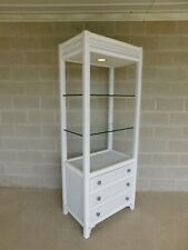 Henry Link Wicker Paint Decorated Lighted Etagere Display Cabinet