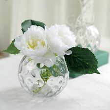"""2 Clear 5"""" tall Round Glass Hobnail Vases Wedding Party Centerpieces Supplies"""