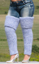 MOHAIR hand knitted WHITE and BLUE gaiters LEGWARMERS legging spats Unisex 11