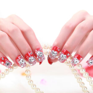 24 Pcs/Set Women Girl Bride Red 3D Fake Nails Wrapped Tips Artificial False N CH