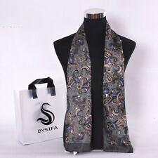 Men Long Scarves Pure Silk Paisley Fashion Accessories Business Scarf 160X26cm