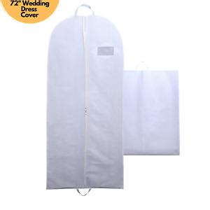 "White 72"" Breathable Long Bridesmaids Wedding Dress Cover Travel Garment Bag"