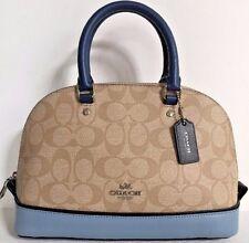 NWT Coach 57494 Sierra Satchel PVC Colorblock Leather handbag Light Khaki Blue